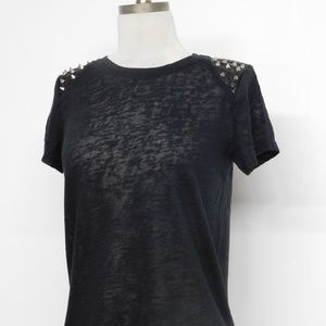 NWT Forever21 Black Studded Knit Top Short Sleeve